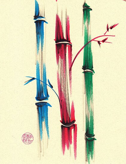 """""""Rainbow Bamboo Forest""""  Watercolor Bamboo Painting by Rebecca Rees"""