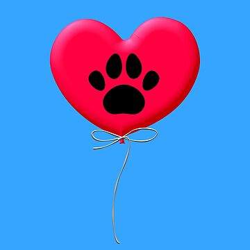 Heart Shaped Balloon With Dog Paw Print by Almdrs
