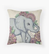 Little Elephant in soft vintage pastels Throw Pillow