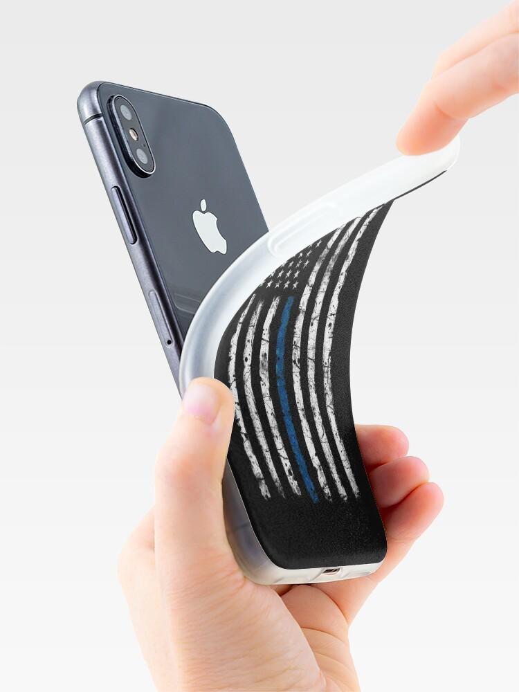 Vista alternativa de Vinilos y fundas para iPhone Línea Azul (Blanco) V2 Vertical