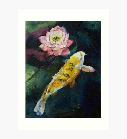 Koi and Lotus Flower Art Print
