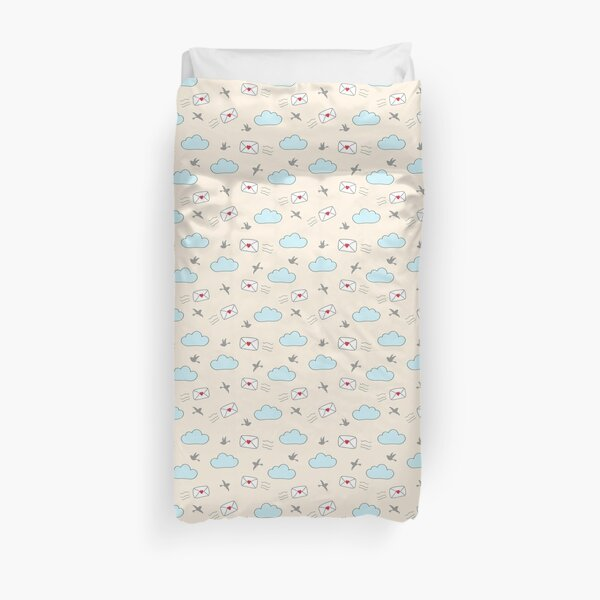 Flying love letters little birds clouds seamless repeat pattern Duvet Cover