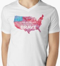 Land of the Free because of the Brave Watercolor Men's V-Neck T-Shirt