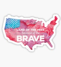 Pegatina Land of the Free because of the Brave Watercolor