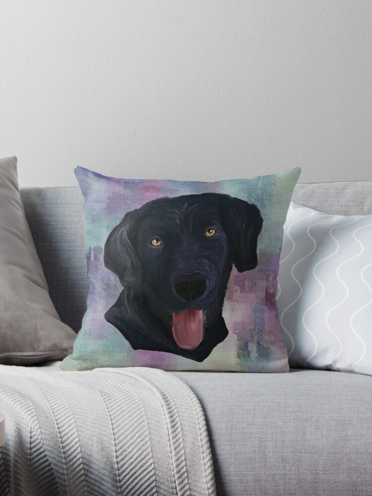 Dog Lover Custom Gifts Black Lab Graphic Design Painted Abstract Art Labrador Dog Gift Throw Pillow By Tamdevo1