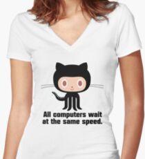 ★ Github octocat Women's Fitted V-Neck T-Shirt