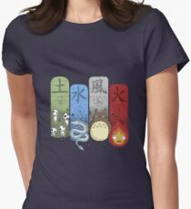 Ghibli Elemental Charms Women's Fitted T-Shirt