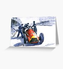 Pit Stop Alfa Romeo158 British GP 1950 J M Fangio Greeting Card