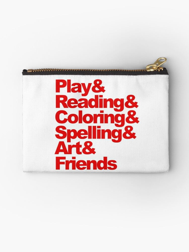 Play Reading Coloring Spelling Art Friends Zipper Pouch