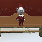 White Kitty as an elf on a shelf by Rachel Lawson
