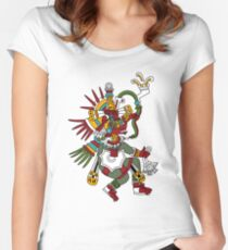 #Quetzalcoatl #featheredserpent #worship #Feathered Serpent Teotihuacan century Mesoamerican chronology veneration figure Mesoamerica Mexican religious center Cholula Maya area Kukulkan Women's Fitted Scoop T-Shirt