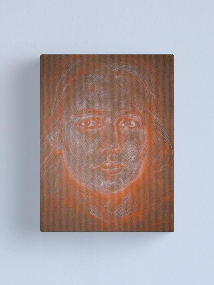 Alternate view of Self portrait in conte Canvas Print