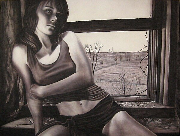 'In My Memory' 150cm x 200cm    Charcoal and Acrylic on Stretched Canvas by Warren Haney