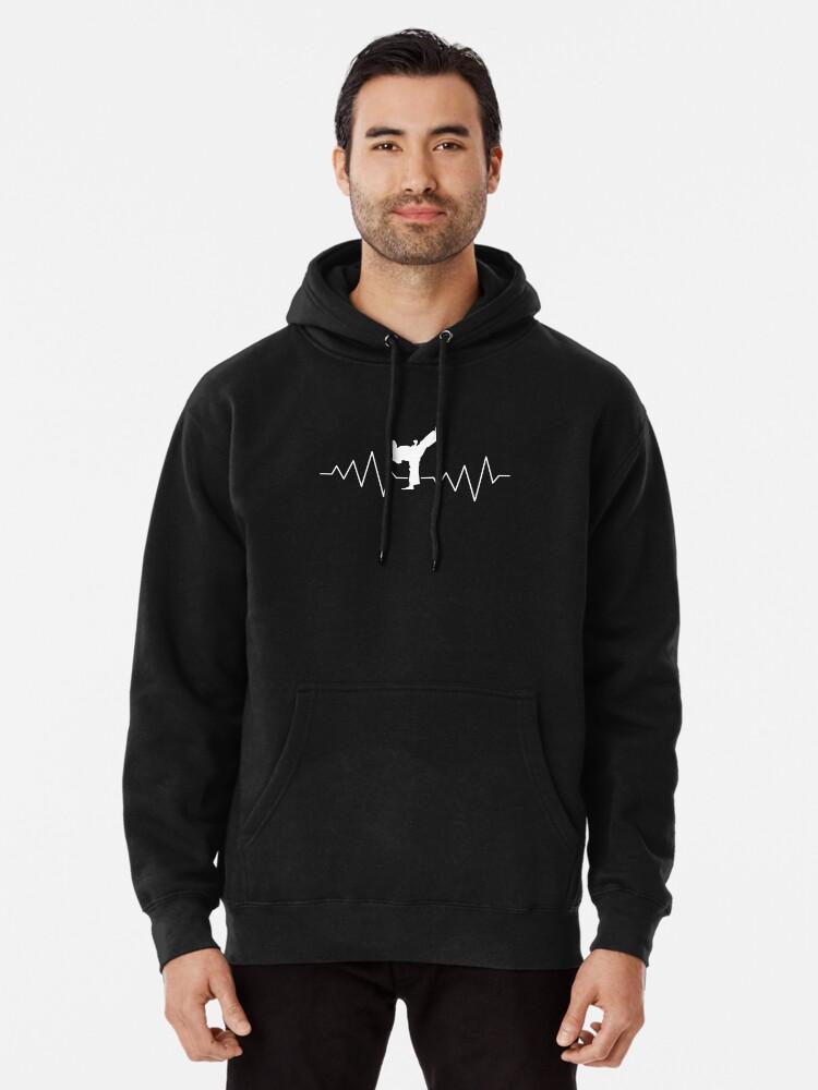 Mens Pullover Hoodie Sweatshirt with Pockets Taekwondo Heartbeat