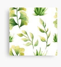 Herbaceous greens watercolor - green leaf Canvas Print