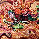 Flying Sax with bird on shoe by Julie Ann Accornero