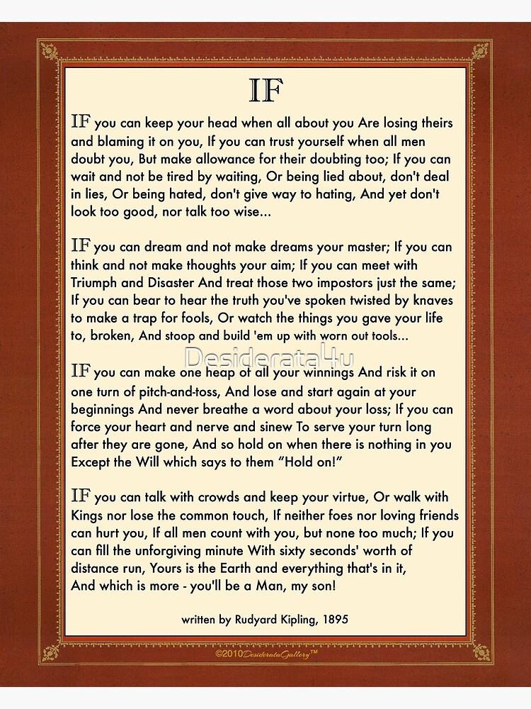 Si Cita Por Rudyard Kipling de Desiderata4u