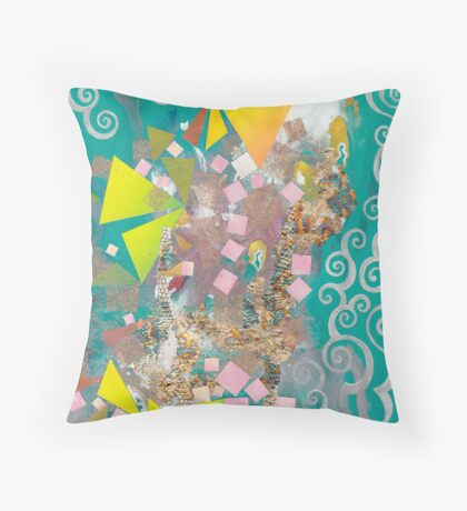 Lime triangles against Emerald Throw Pillow