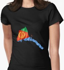 Eritrea Flag Country Shape - Gift For Eritrean From Eritrea Women's Fitted T-Shirt