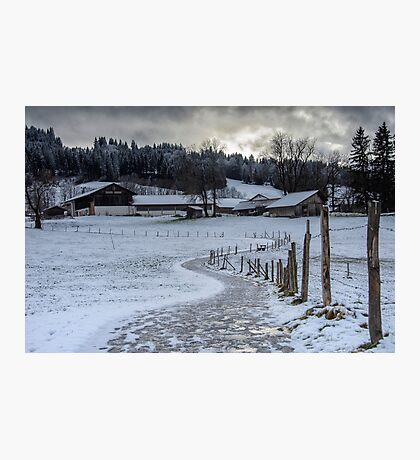 Bavarian Farm in Winter Photographic Print
