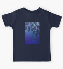 Midnight Blue Garden - watercolor & ink leaves Kids Tee