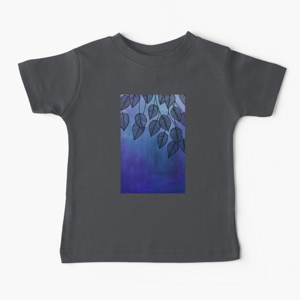 Midnight Blue Garden - hojas de acuarela y tinta Camiseta para bebés