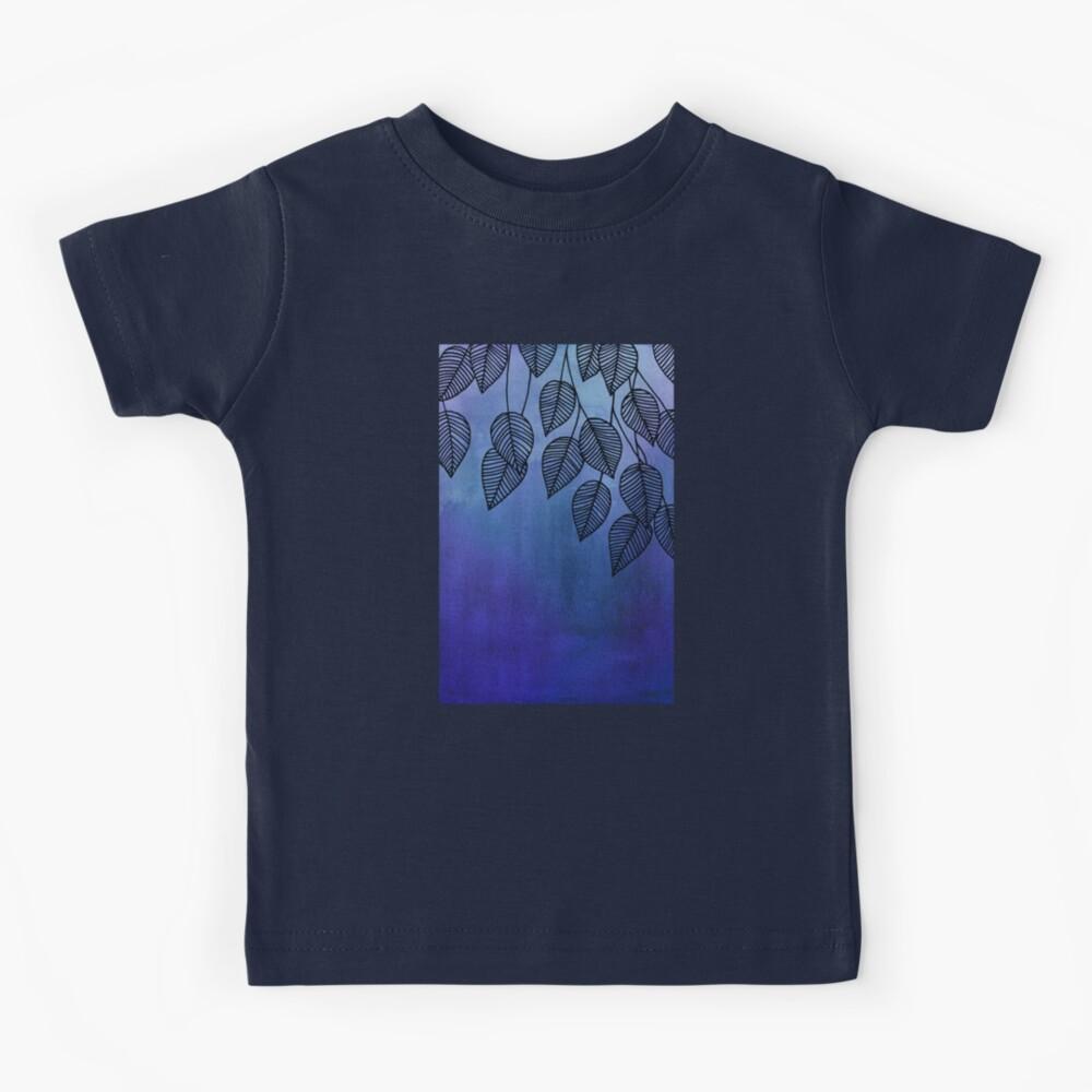 Midnight Blue Garden - hojas de acuarela y tinta Camiseta para niños