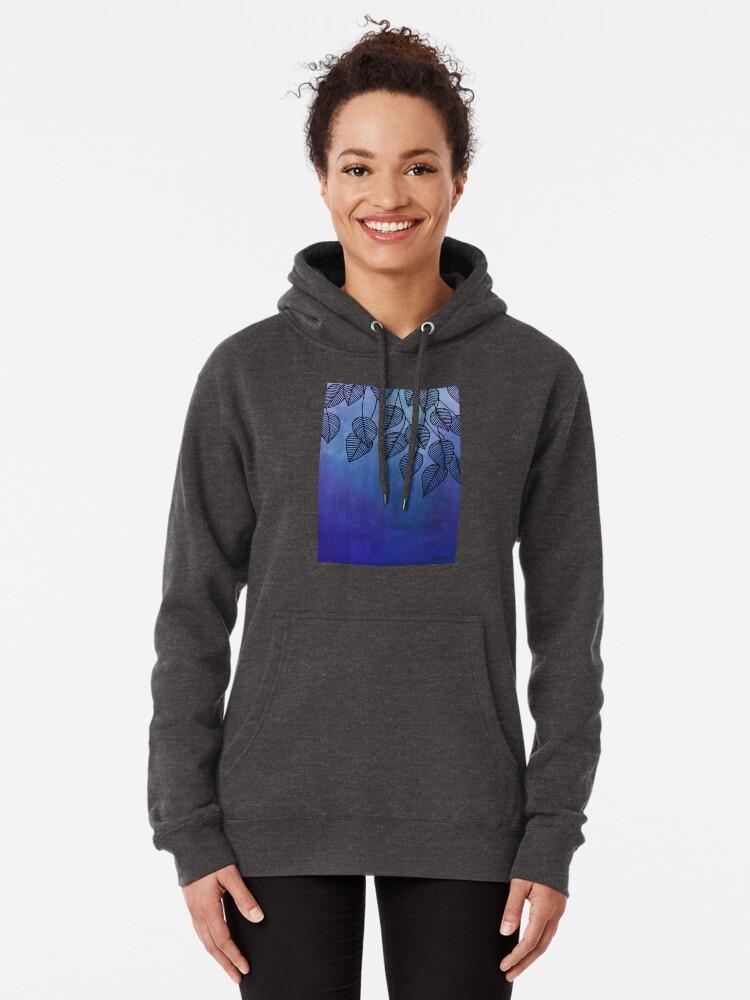 Vista alternativa de Sudadera con capucha Midnight Blue Garden - hojas de acuarela y tinta
