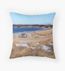 Snowy Montauk Seashore Throw Pillow