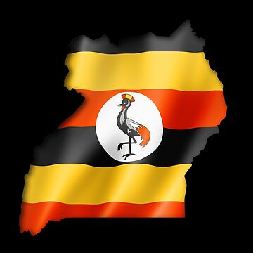 Uganda Flag Country Shape - Gift For Ugandan From Uganda by Popini