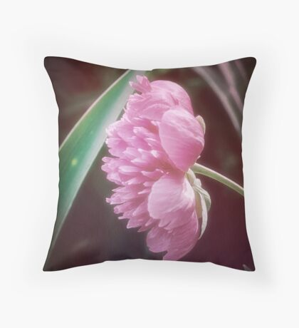 Peony with a Foliage Frame Throw Pillow