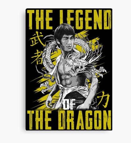 Bruce Lee The Legend of the Dragon on Darks Canvas Print