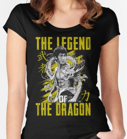 Bruce Lee The Legend of the Dragon on Darks Women's Fitted Scoop T-Shirt