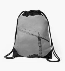 Overcast Construction Crane Drawstring Bag