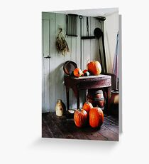 Pumpkins in Kitchen Greeting Card