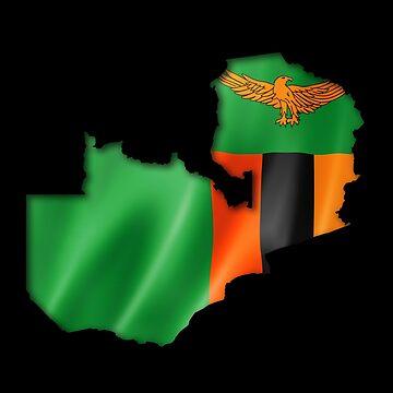 Zambia Flag Country Shape - Gift For Zambian From Zambia by Popini