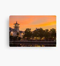 Orange Sunset over Celebration Florida Canvas Print