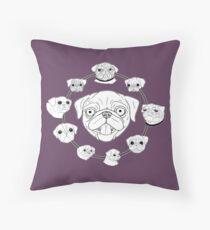 Pug Circle Throw Pillow