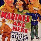 Vintage Hollywood Nostalgia Marines are Here Film Movie Advertisement Poster by jnniepce