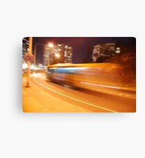 Night bus back to the future Canvas Print