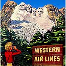 MOUNT RUSHMORE : Vintage Western Airlines Advertising Print by posterbobs