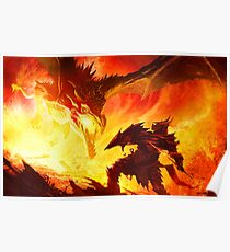 Warrior Facing Dragon Poster