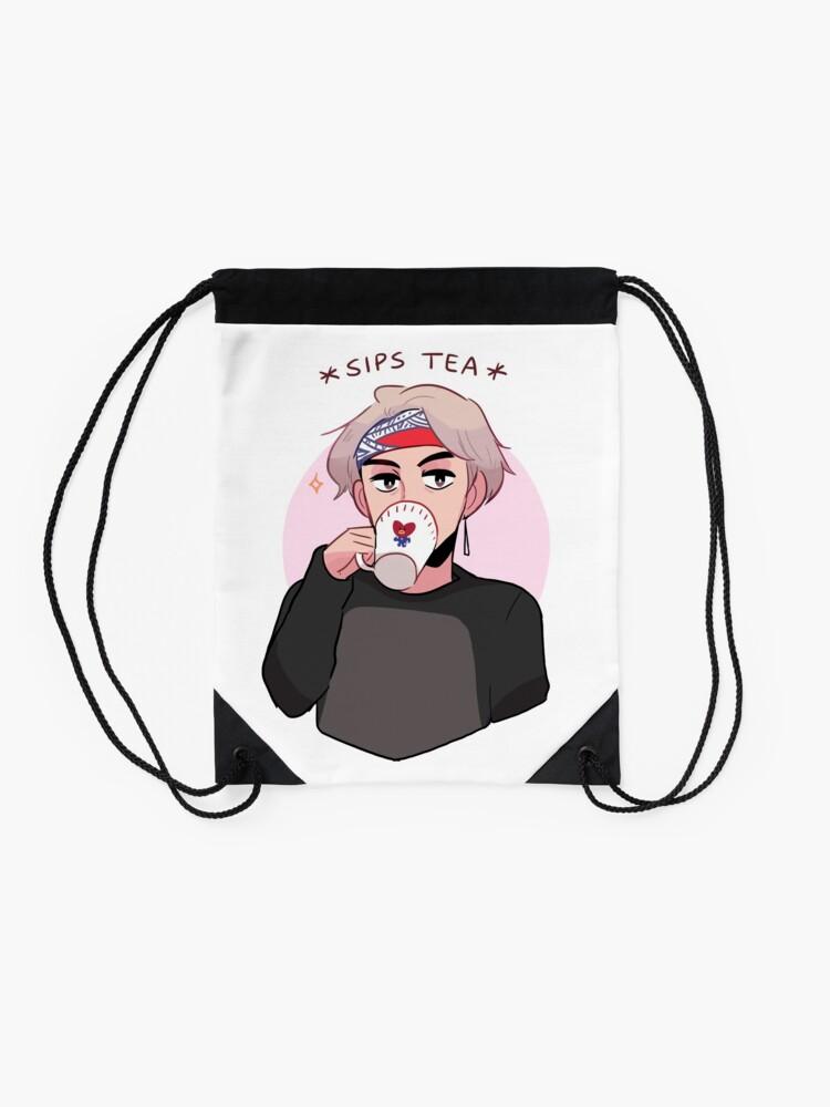 Alternate view of MIC DROP: V SIPPIN TEA Drawstring Bag