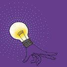 Runaway Idea lightbulb hand by SusanSanford