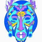 African Mask 1 - Neon Blue Edition by kenallouis