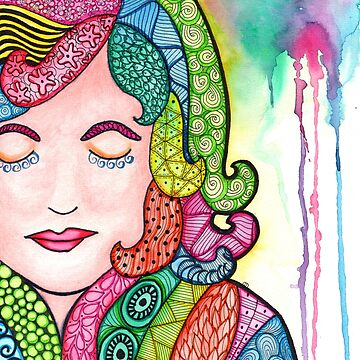 Watercolor Doodle | Groovy Girl by coloringiship