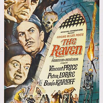 Vintage Hollywood Nostalgia The Raven Peter Lorre Boris Karloff Vincent Price Film Movie Advertisement Poster by jnniepce