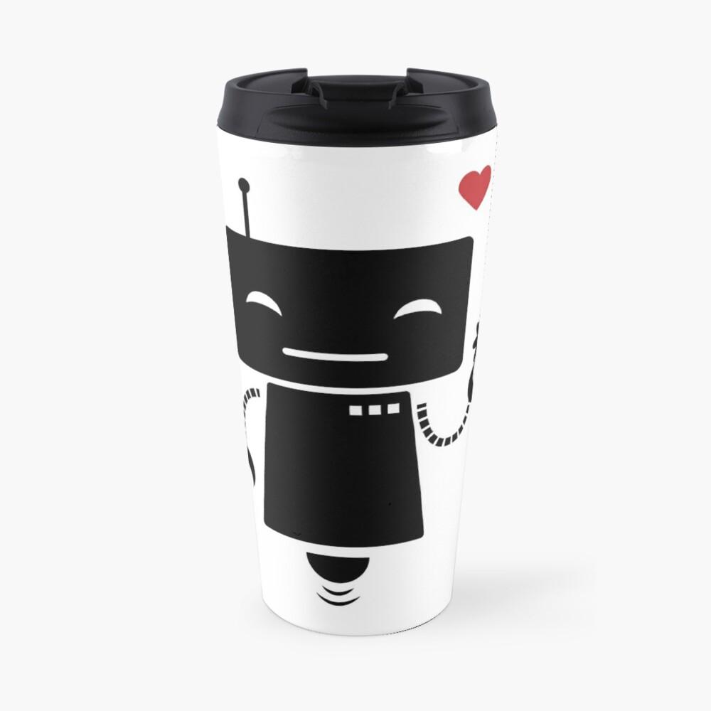 Robot With Flower Travel Mug
