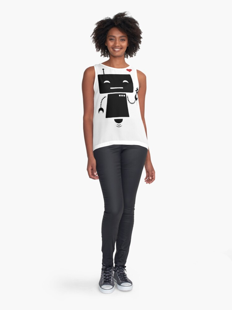Alternate view of Robot With Flower Sleeveless Top