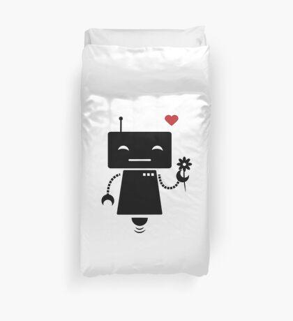 Robot With Flower Duvet Cover